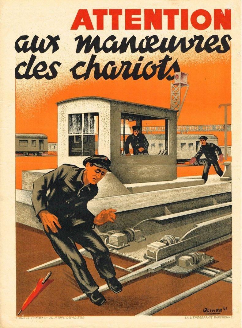 Affiche de sécurité SNCF : Attention aux manœuvres des chariots.
