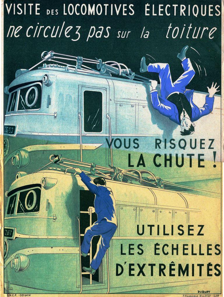 Ancienne affiche de sécurité SNCF