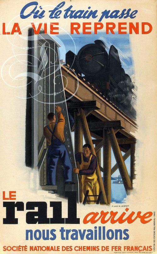 Juste après la 2ème guerre mondiale, affiche de publicité pour la SNCF.