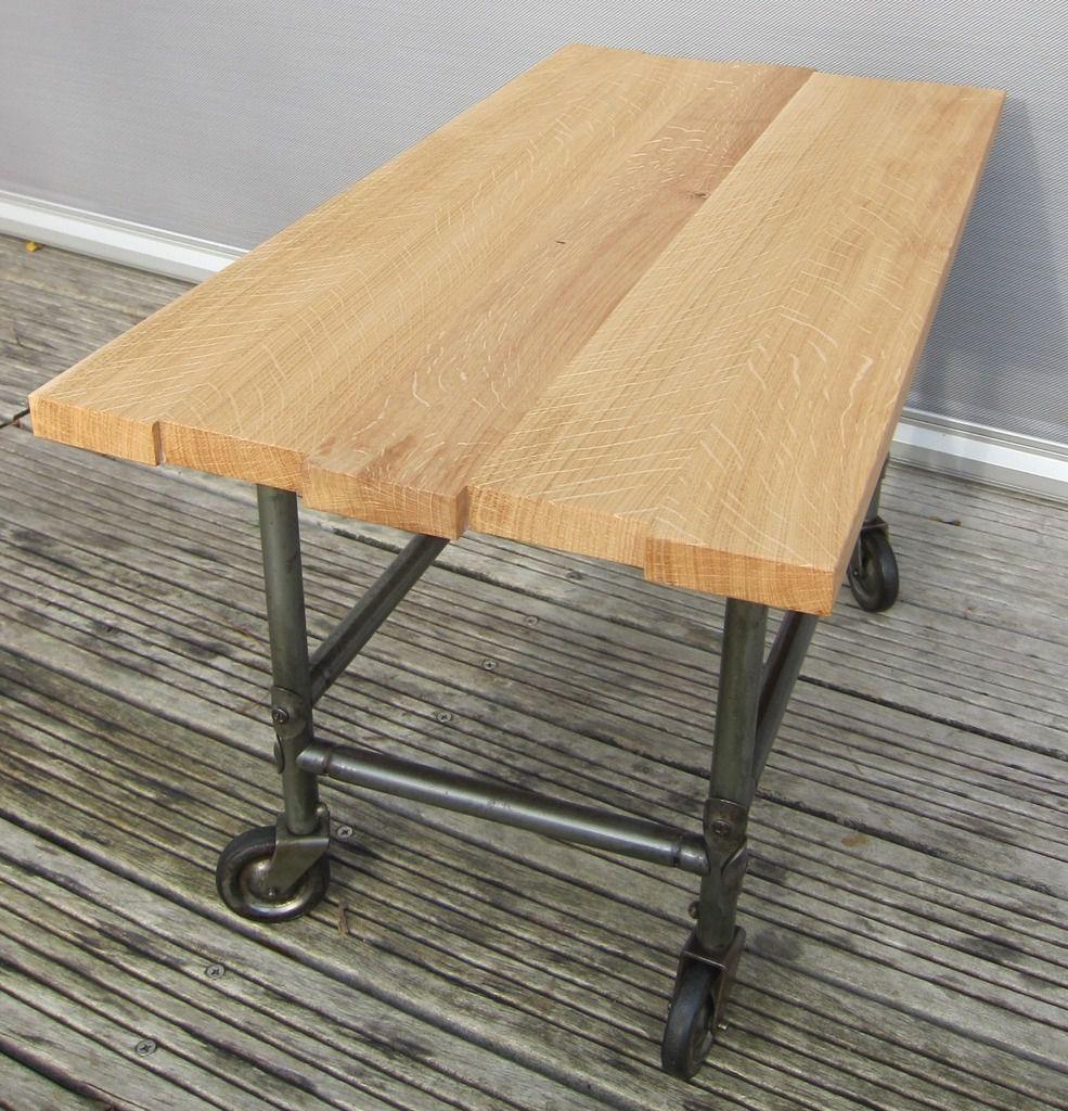 TABLE BASSE DESSERTE ROULANTE FLAMBO PLATEAU ASYMETRIQUE - 117 euros