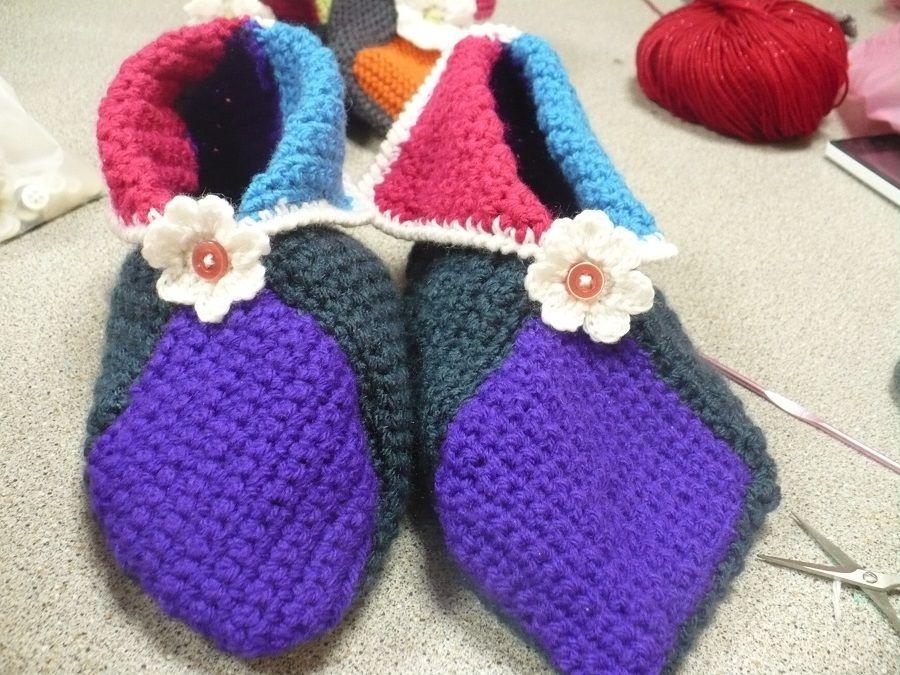 Chaussons lutins tricot et crochet