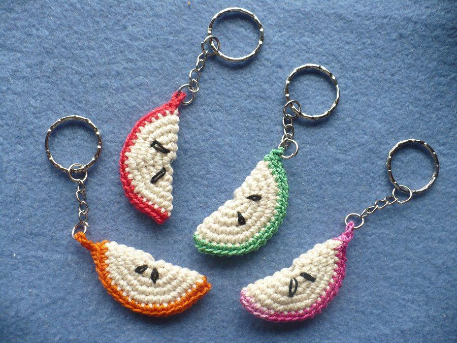 Porte clé tranche fruit crochet