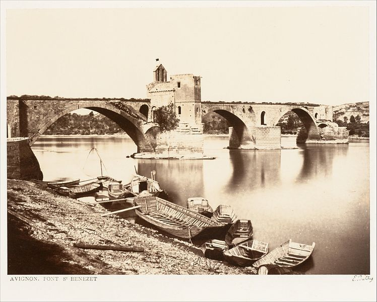 Avignon, pont St-Bénezet, Baldus photo 1864, MET New York 2000, Denis 2005, wikipedia