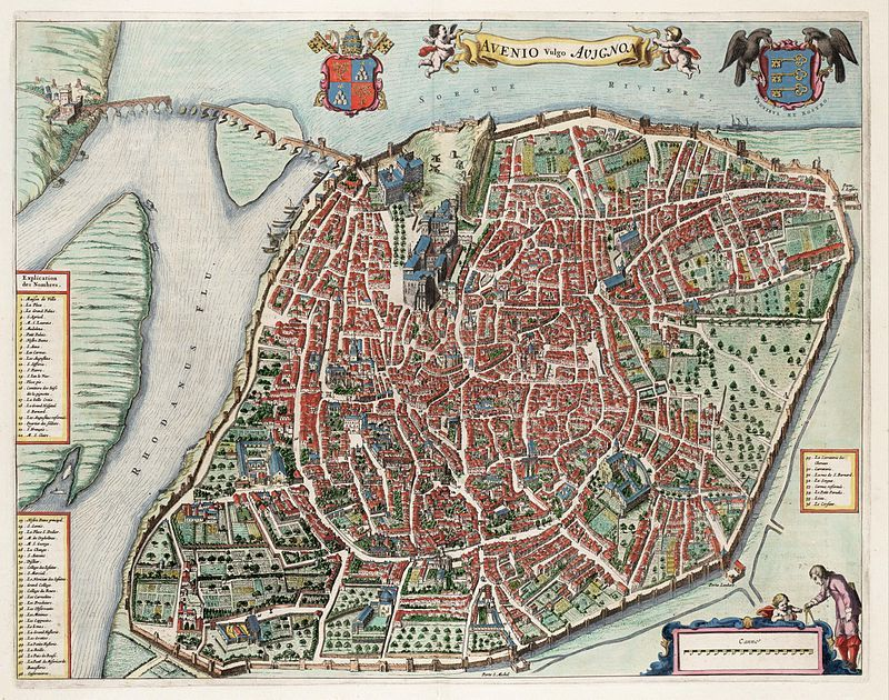 Avignon, carte Avenio vulgo, Atlas van Loon, 1649, wikipedia, Elisabeth Poulain