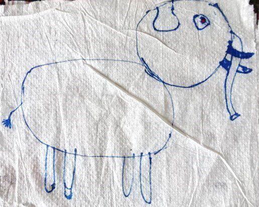 Dessins d'enfant, l'hippopotame, l'éléphant et le renne, Cl. Elisabeth Poulain