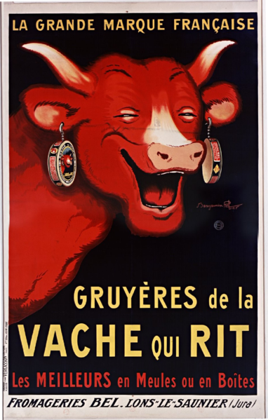 Affiche Benjamin Rabier, Gruyères de la vache qui rit, 1926, wikipedia