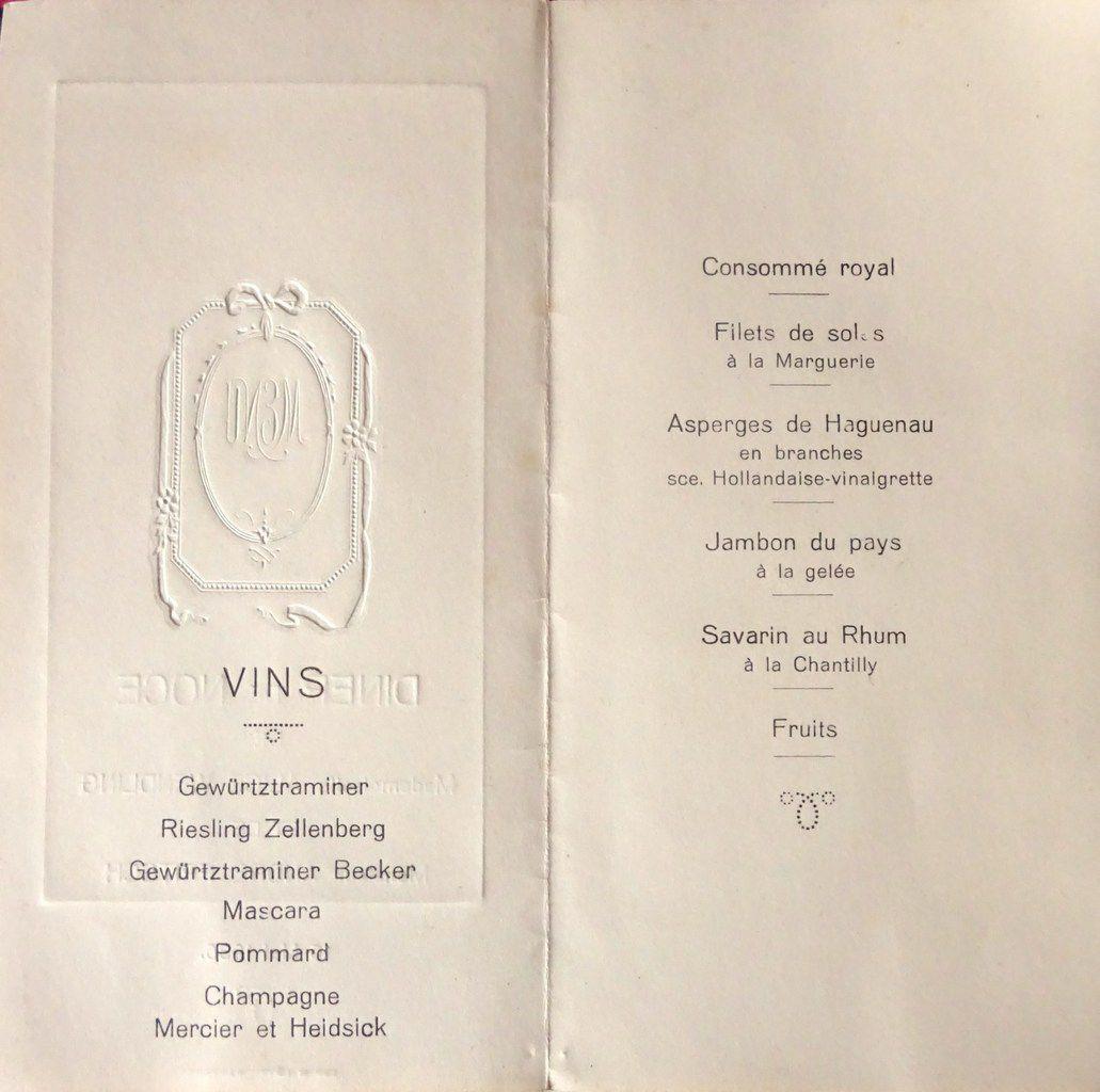 Menu-Dîner d'un mariage en Alsace-1936-6 plats + 7 vins, Cl. Elisabeth Poulain