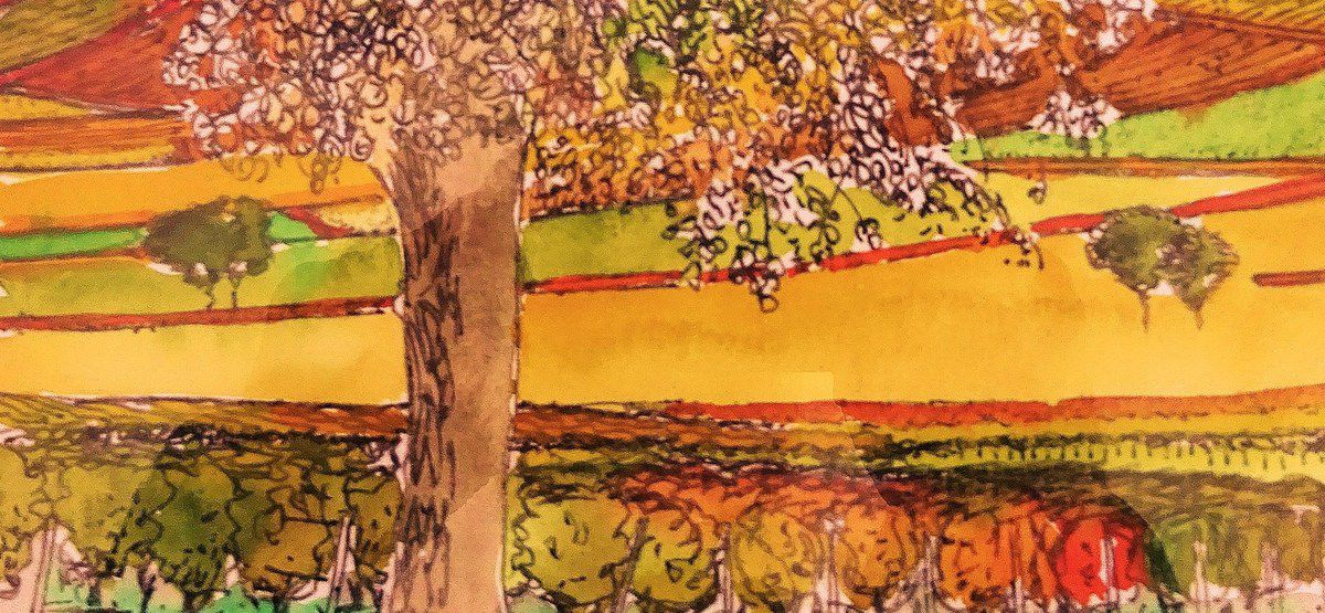 *L'arbre dans le vignoble du Sancerrois, Dessin & couleurs signés France Poulain, Cl. Elisabeth Poulain