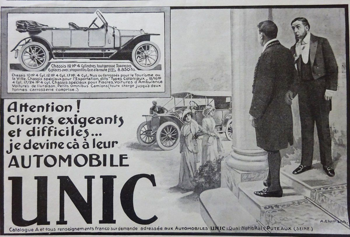 L'Illustration 5-07-1905, Annonce-11, Automobile Unic, l'homme chic à la barbe, Cl. Elisabeth Poulain