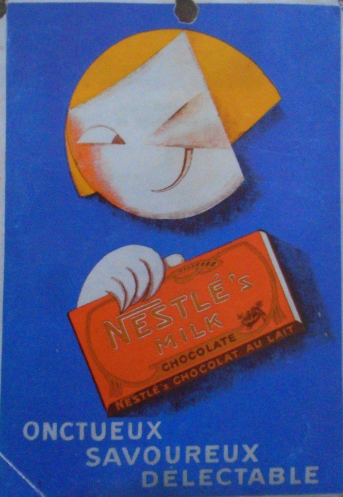 La Petite Fille du chocolat Nestlé, Leonetto Garretto, Plaque émaillée, Cl. Elisabeth Poulain