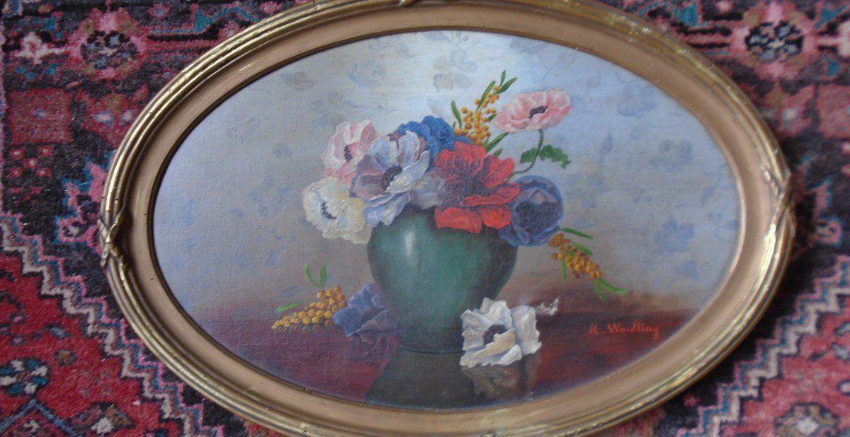 """Tableau n° 1 ovale-horizontal,  """"Aux anémones et au mimosa"""", Cl. Elisabeth Poulain"""