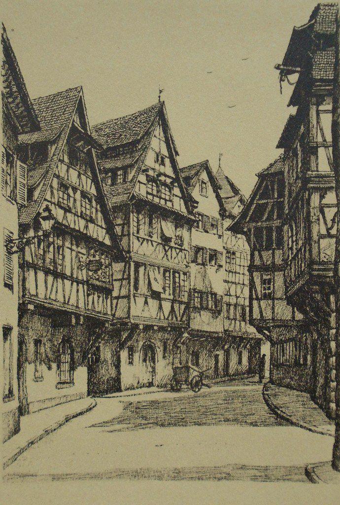 Carte postale du Vieux Strasbourg, Maisons, Dessin de J. Klippstiehl, Cl. Elisabeth Poulain