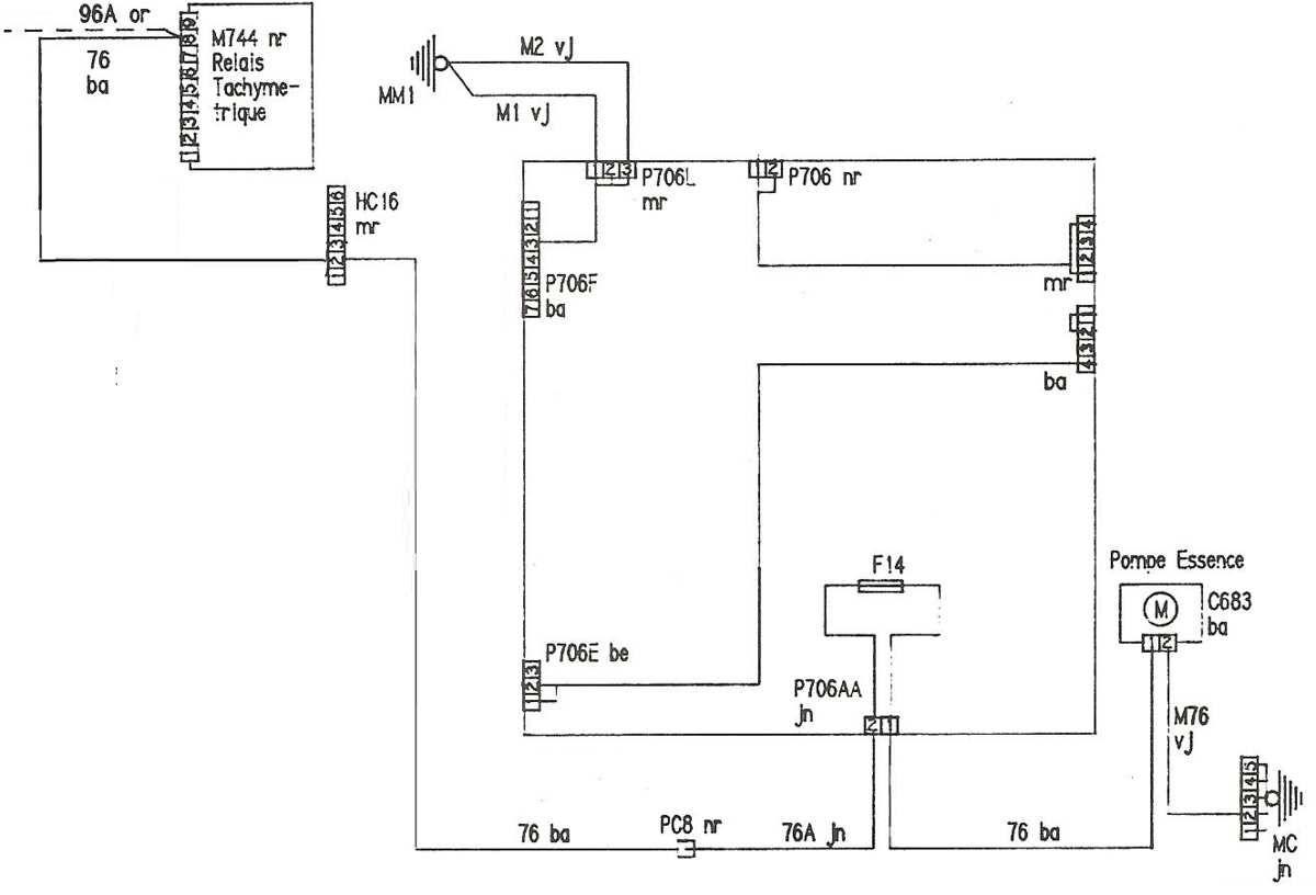 Schéma electrique pompe carburant 89