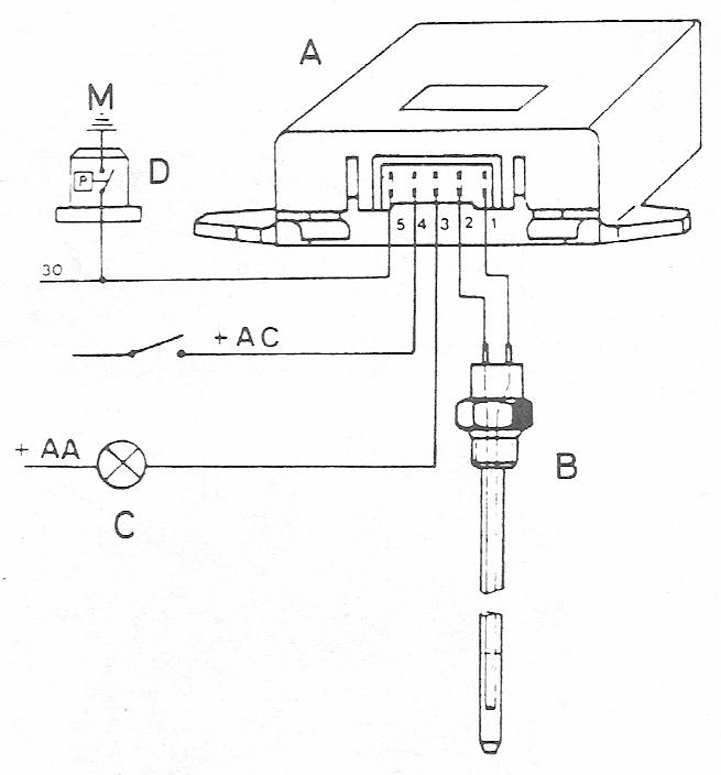 Schéma branchement sonde de niveau huile 205 GTi version suivante