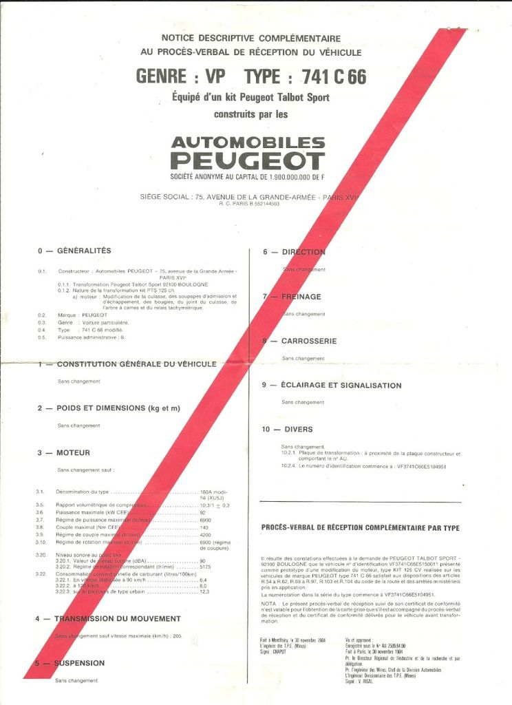 Document d'homologation kit PTS 125cv Peugeot 205GTi