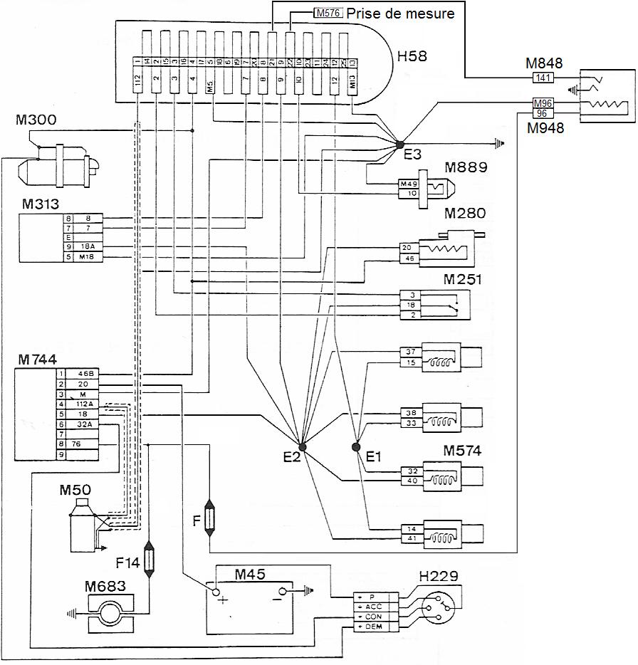 Schéma de principe injection 205 GTi LU2-Jetronic