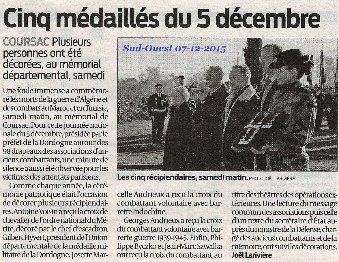 Commémoration du 5 décembre à Périgueux (24) et au mémorial de coursac (24)