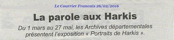 La parole aux Harkis en Dordogne du 1er Mars au 27 Mai 2016
