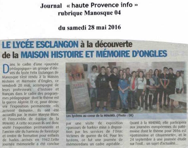 journée pédagogique du lycée Esclacon de Manosque le vendredi 20 mai... a la Maison Histoire et Mémoire Ongles