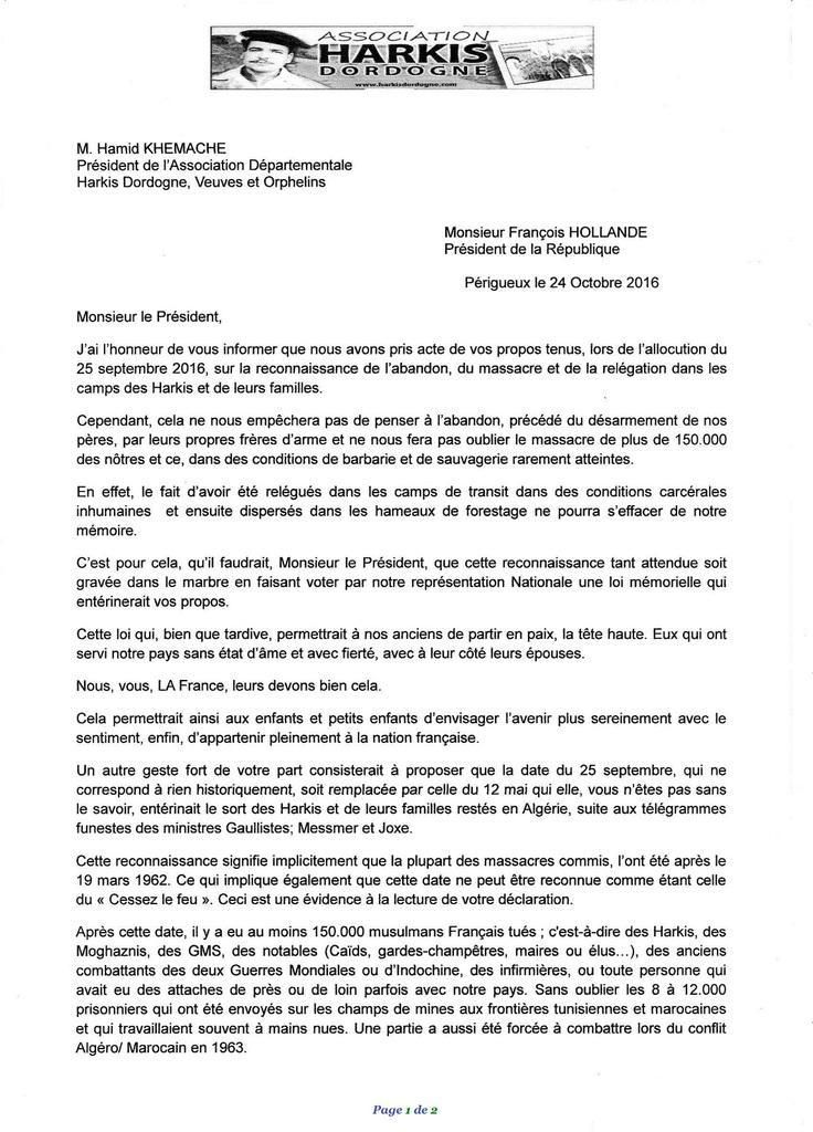 Lettre ouverte de l'Association Départementale HarkisDordogne, VeuvesetOrphelins au président François Hollande