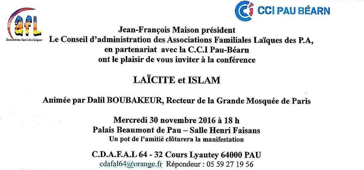 Débat sur la laïcité et l'islam mercredi 30 novembre 2016 avec Dalil Boubakeur recteur de la grande mosquée de Paris à Pau (64)