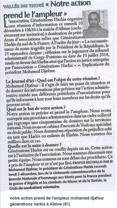 notre action prend de l'ampleur mohamed djafour générations harkis à Albine (81)