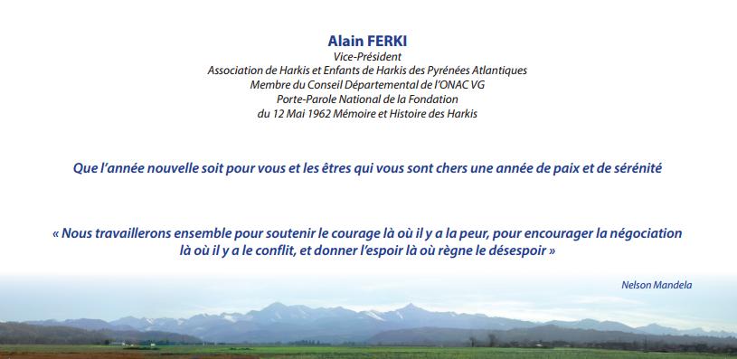 Les vœux 2017 de l'association de harkis et enfants de harkis des Pyrénées-Atlantiques.