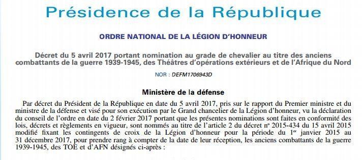 Sept Harkis Décorés pour 2017 Ordre national de la légion d'honneur