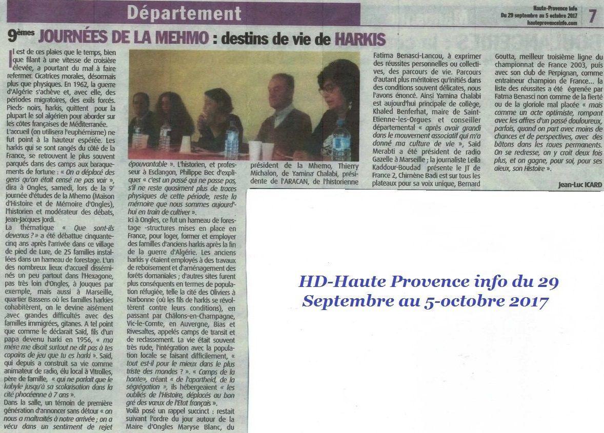 Destin de vie de Harkis Ongles (04) Haute Provence info du 29 Septembre au 5-octobre 2017