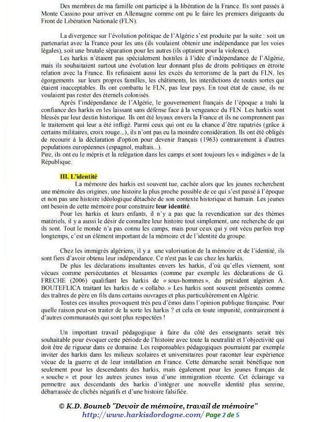 Harkis  : devoir de mémoire, travail de mémoire de K.D. Bouneb