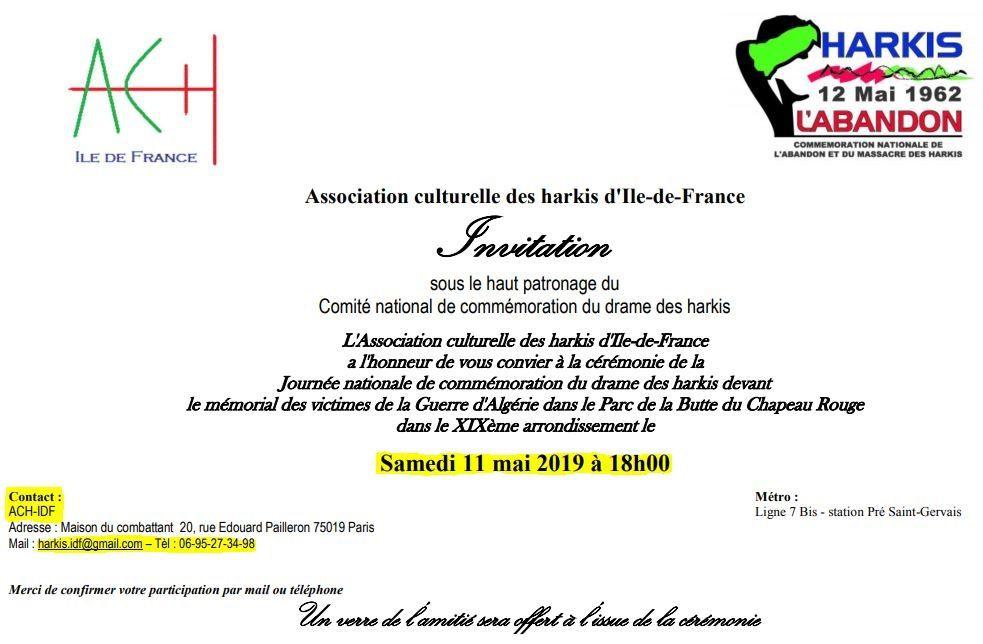 Commémoration Nationale de l'Abandon des Harkis,Samedi 11 Mai 2019 à Paris