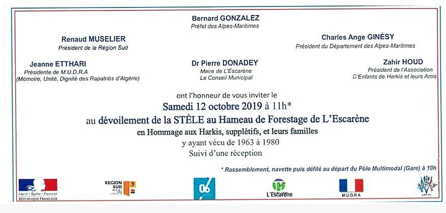 Invitation au dévoilement de la Stèle en hommage aux harkis à L'Escarène (06)