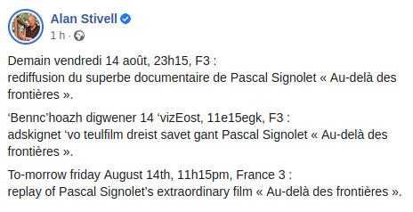 Vendredi 14 août, 23h15, F3 : rediffusion du documentaire de Pascal Signolet « Au-delà des frontières ».