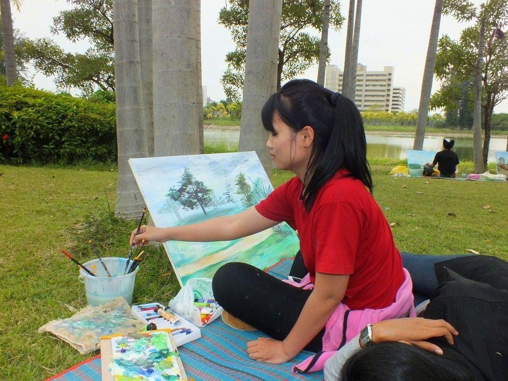Udonthani : Les peintres du Parc Nong Prajak