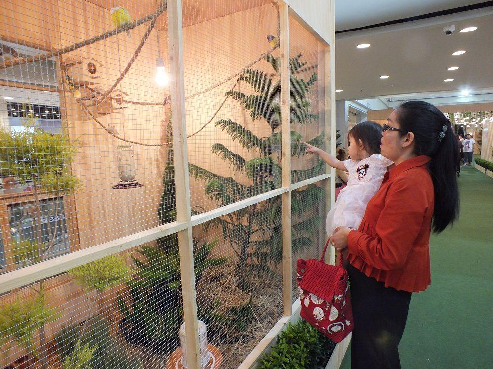 17 mars 2019: Udonthani. Visite de l'exposition d'oiseaux au Central Plazza.