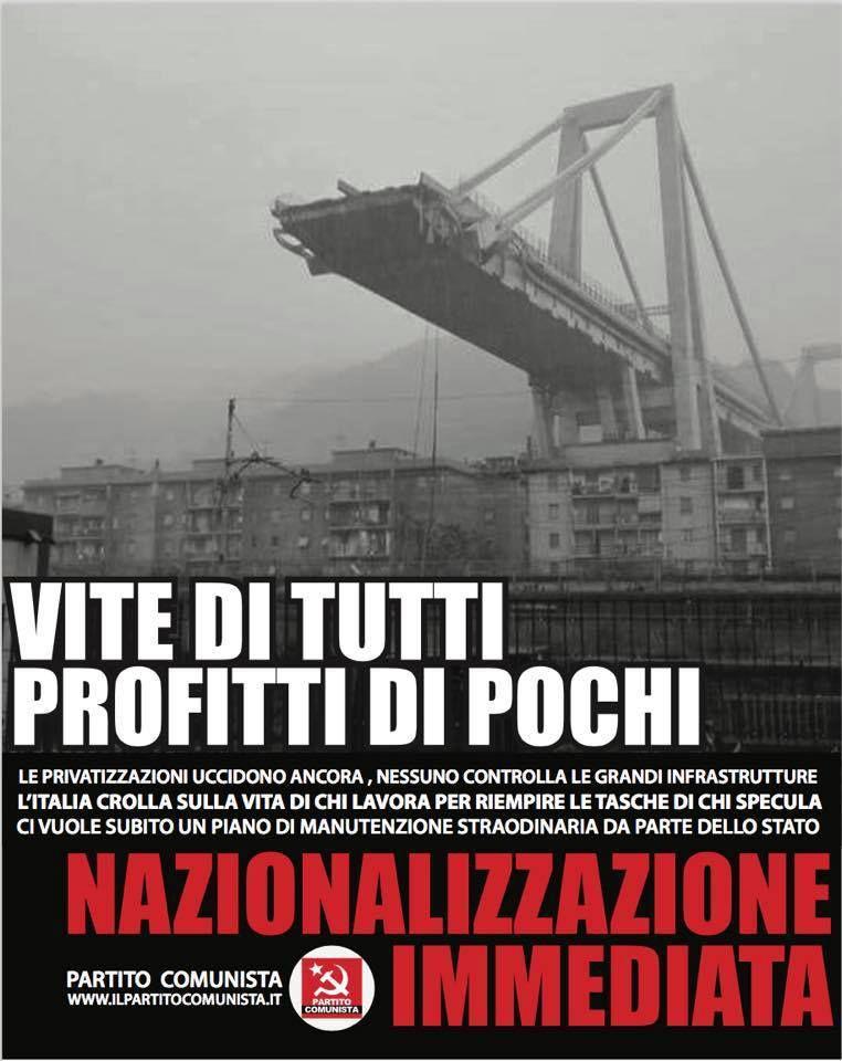 Catastrophe de Gênes : premières réactions du Parti Communiste (PC) en Italie dans - DATE A RETENIR ob_02187e_pontitalie