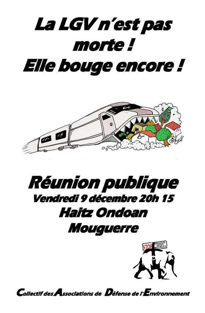 La LGV n'est pas morte ! Elle bouge encore ! Réunion publique à Mouguerre le 09/12/16 à 20h15