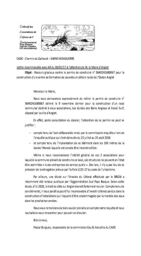 L'association IDEAL demande à Mme le Sous- Préfet de déférer devant le tribunal administratif le permis de construire pris par le Maire d'Anglet  dans la bande littoral
