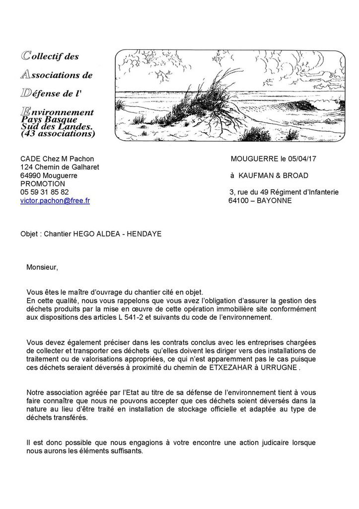 Chantier HEGO ALDEA à HENDAYE = Décharge sauvage chemin de ETXEZAHAR à URRUGNE
