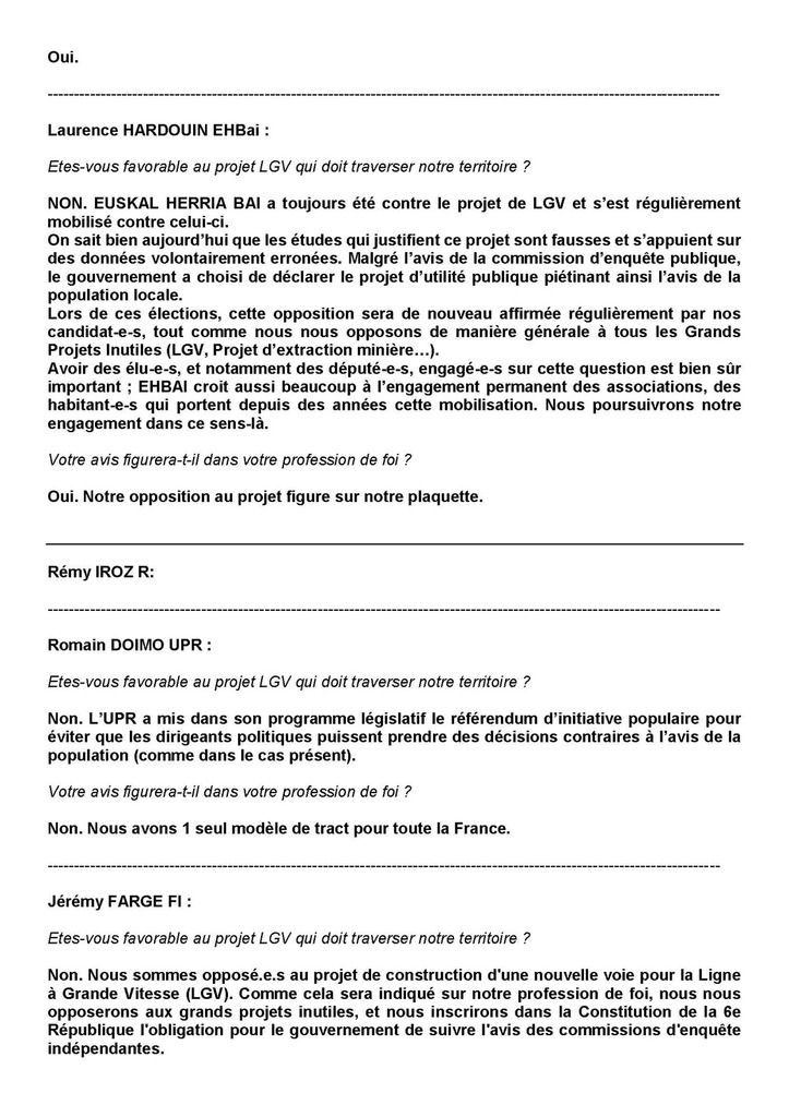 LGV : 1eres réponses au questionnaire des candidats/e aux législatives, et les autres ?!