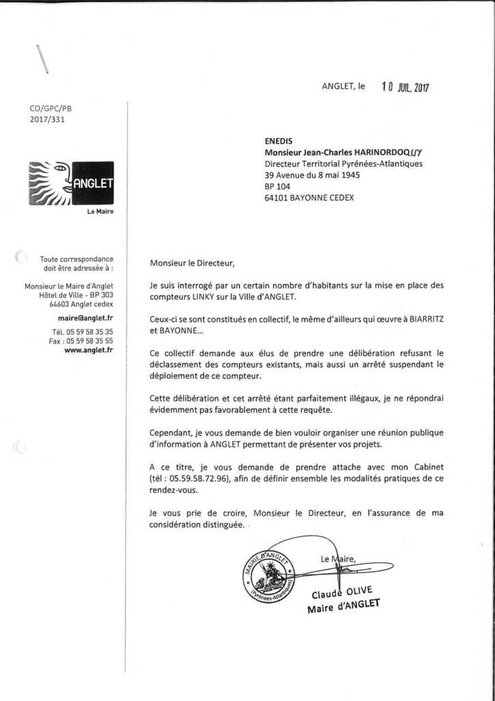 Réponse du Collectif Anti Linky Anglet à la lettre du cabinet du maire suite au communiqué de presse du 02/08
