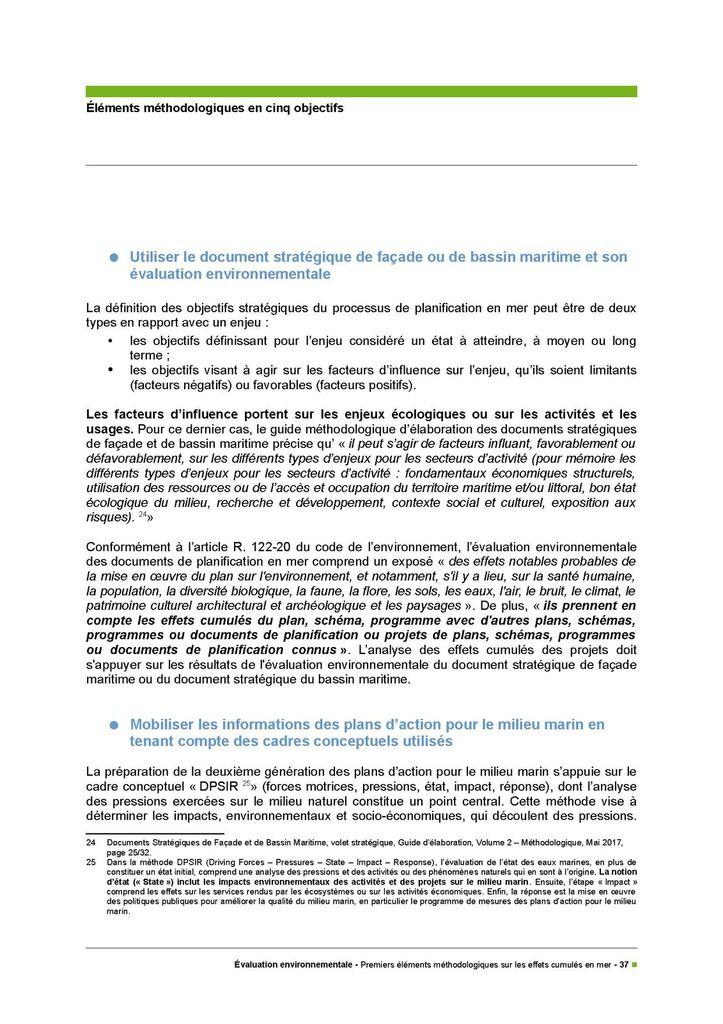 Evaluation environnementale, premiers éléments méthodologiques sur les effets cumulés en mer
