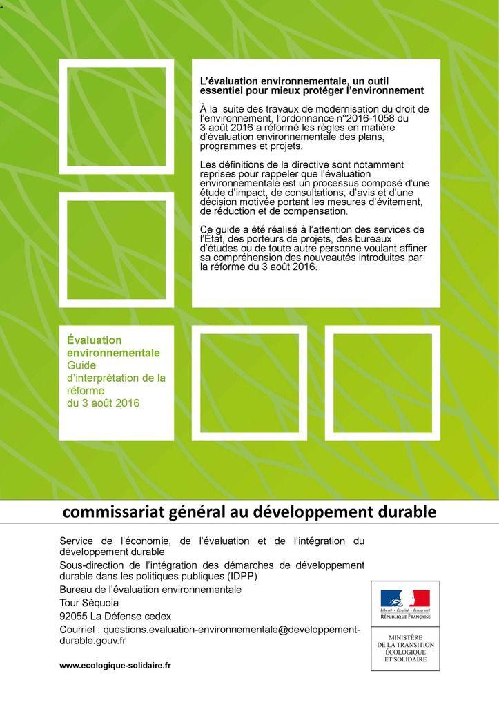 Evaluation environnementale, guide d'interprétation de la réforme du 3 août 2016