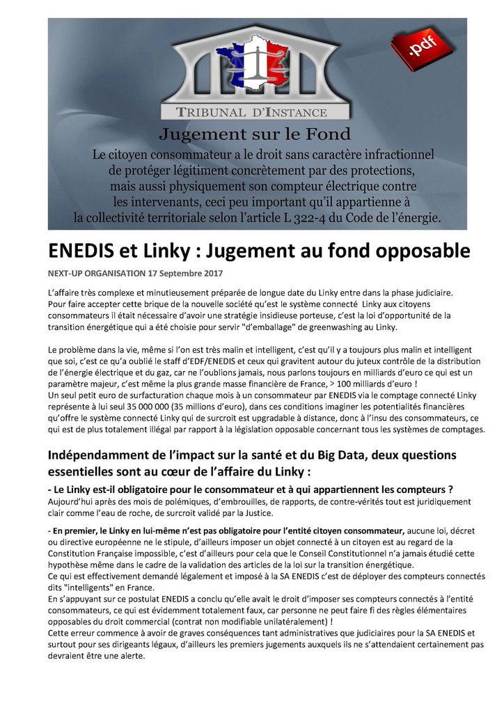 ENEDIS et Linky : Jugement au fond opposable