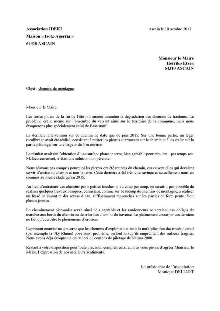 IDEKI écrit au Préfet et au Maire d'Ascain concernant la « restauration » d'un chemin sur La Rhune et la DREAL se manifeste