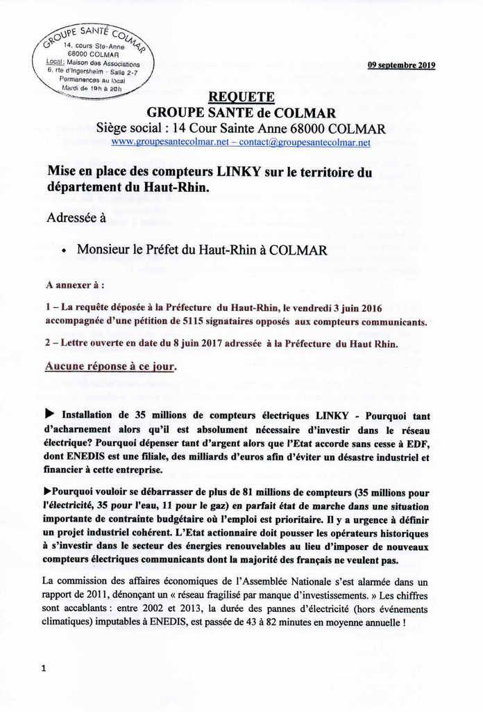Linky : Requête au Préfet du Haut-Rhin par le Groupe Santé Colmar