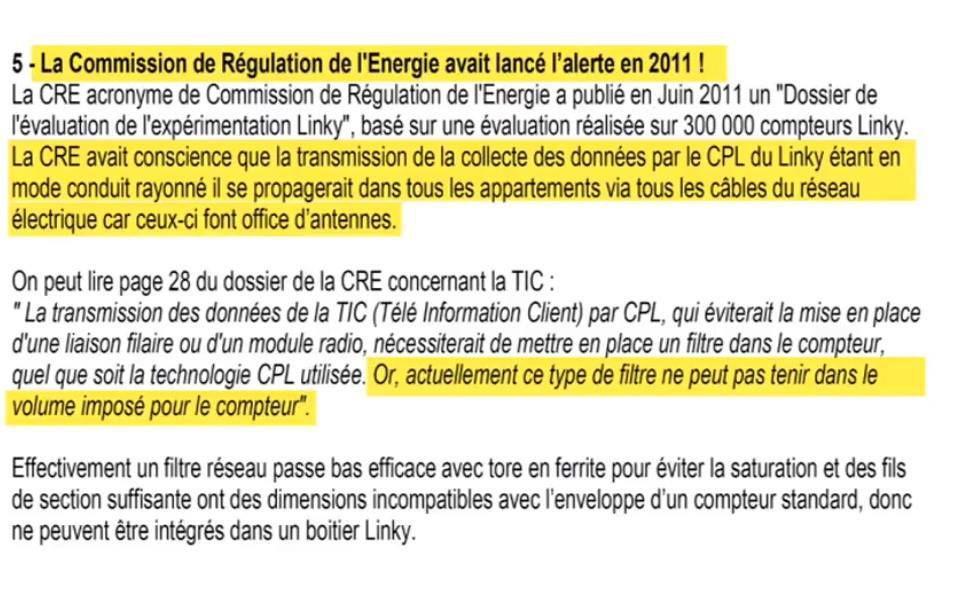 Depuis 2011 ENEDIS et la CRE savaient qu'il faut mettre un filtre mais .... Comme il n'y a pas de place dans le Linky ....on laisse faire !!!!