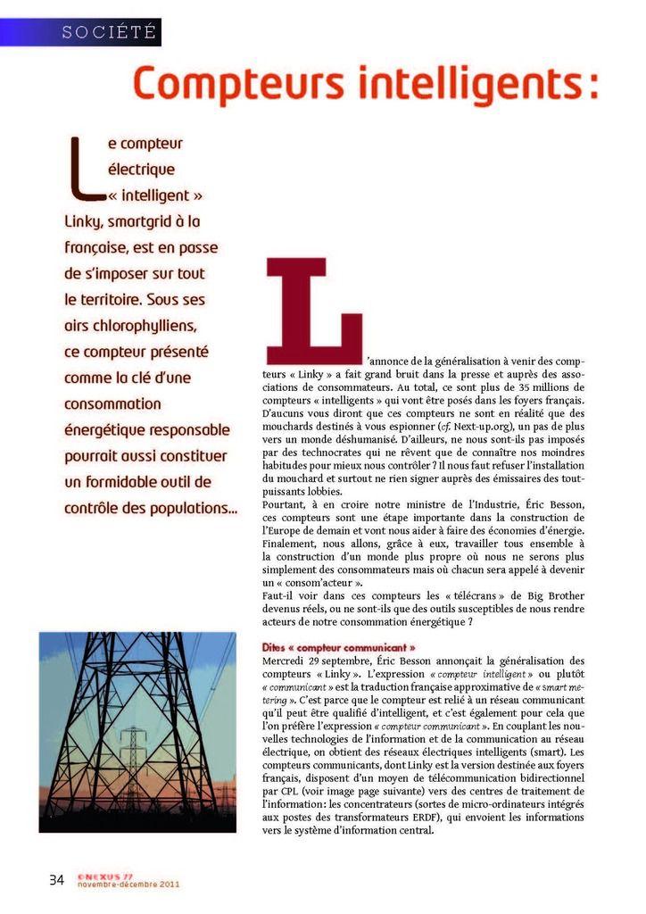 Ecologie ou Green Control ?! NEXUS s'exprimait déjà en 2011  sur le Linky !!!