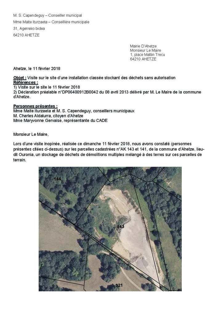 Ahetze: Visite sur le site d'une installation classée stockant des déchets sans autorisation