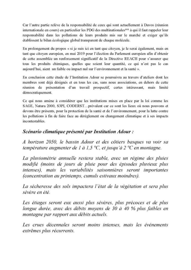 Prospective Adour 2050 : Réunion du 24/01/18 à Serres-Castets